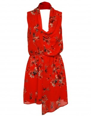 Cowl Neck Dress In Oriental Print