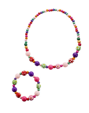 Matching beaded necklace and bracelet
