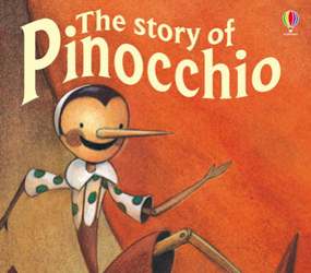 Orange front book cover for Pinocchio