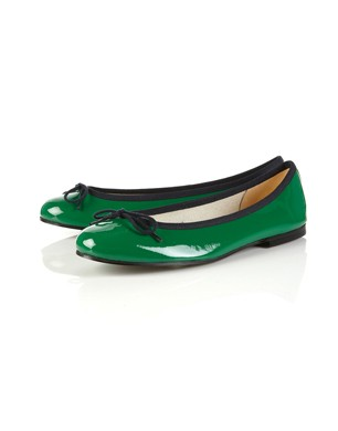 French Sole Green Patent-Leather Pumps