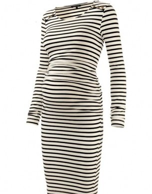 Ruched Breton Button Dress