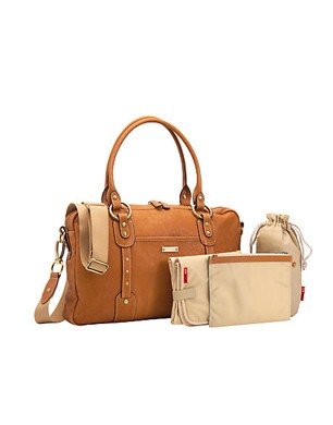 Elizabeth Natural Leather Nappy Bag