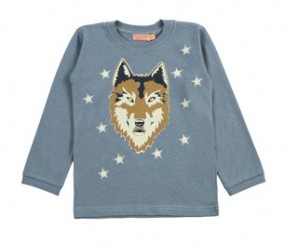 long-sleeved wolf printed t-shirt