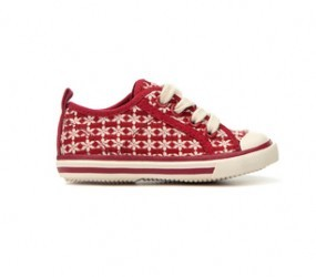 Red and white plimsolls