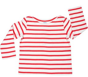 coral pink and white striped long sleeve tee