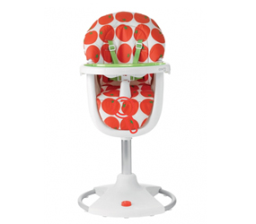 red and white spotty highchair