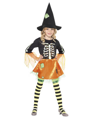 Girl's Skelly Witch Costume