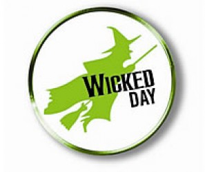 Wicked themed day logo, white and green