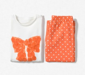 Orange bow print pyjamas