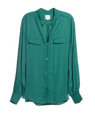 Emerald Blouse With Metal Trim