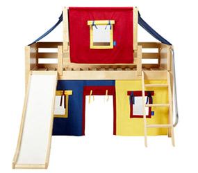 Children's Beds: Loft Bed with Slide, Ladder & Tent