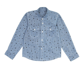 blue denim shirt with black star print