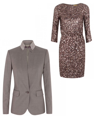 taupe blazer and bronze sequin dress