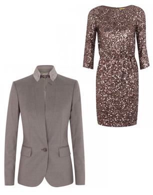taupe blazer and bronze sequin dress