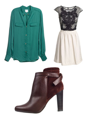 Reiss Sale Items - green blouse, black and cream dress and chestnut ankle boots