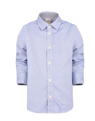 Blue Shirt With Tweed Elbow Patches