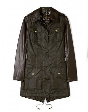 Olive Buckinghamshire Wax Jacket With Black Leather Arms