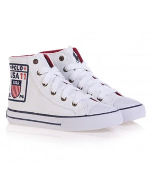 White Leather Logo High-Tops