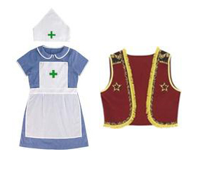 kids nurse costume and cowboy waistcoat