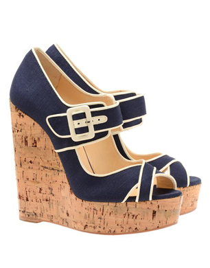 Christian Louboutin Melides Canvas and Cork Platform Wedges