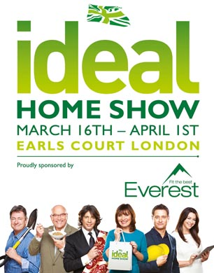 Ideal Home Show logo and celebrities