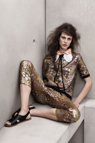 Marni for H&M Campaign model sitting