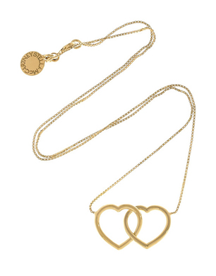 Brass Double Heart Necklace