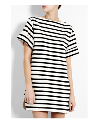 Cream & Black Nagat Breton Stripe Tunic Dress
