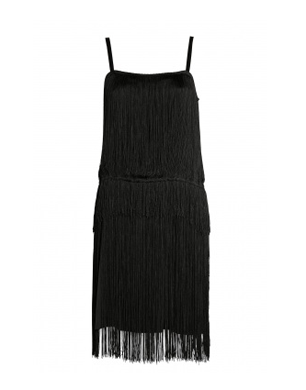 Black Palonia Fringed Silk Dress