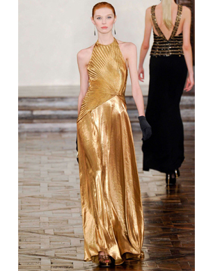 Gold Sequinned and Beaded Maxi Dress