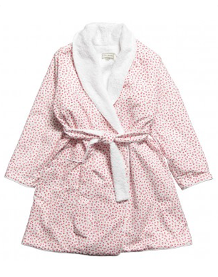 Girls Red & White Cherry Print Cotton Bath Robe Dressing Gown