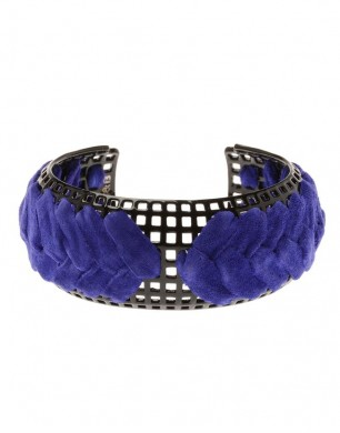 Giles & Brother Lacquered Cuff Interwoven with Suede
