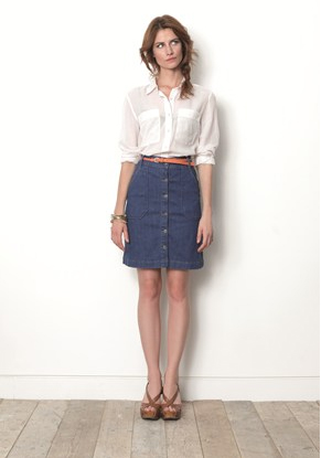 Great Plains Denim Skirt White Shirt