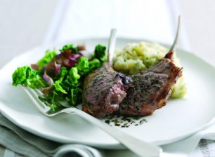 Grilled Lamb Chops with Olive Mash