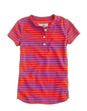 Girls Short Sleeve Sleep Henley in Posie Stripe