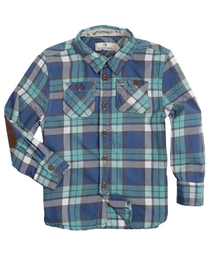 Blue Check Elbow Patch Shirt