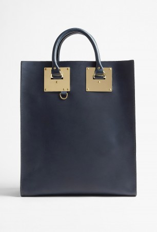 Sophie Hulme Leather Tote in Navy