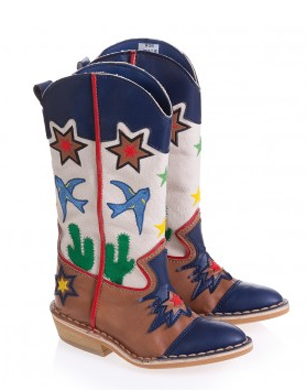 Embroidered Eco-Leather and Canvas Cowboy Boots