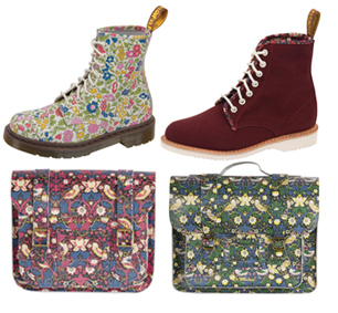 floral print boots, red boots and 2 floral print satchels