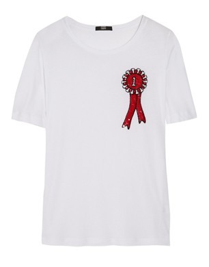 Markus Lupfer Rosette Sequined Cotton T-Shirt