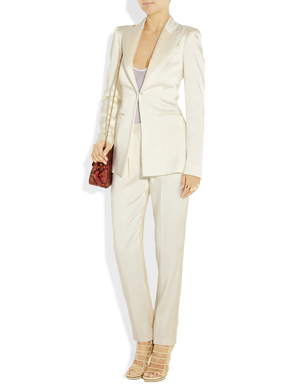 The Row Satin & Linen Blend Blazer