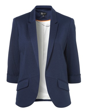 Navy Rolled Sleeve Blazer