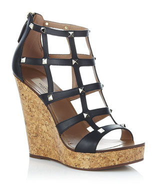 Valentino Studded Cage Leather Wedge