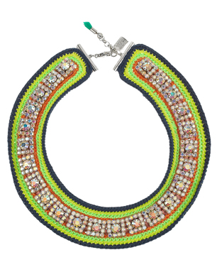 Salty Lime Silver-Plated Diamanté Bib Necklace