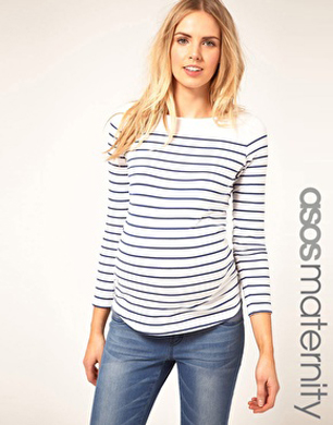Maternity Top in Cotton Breton Stripe