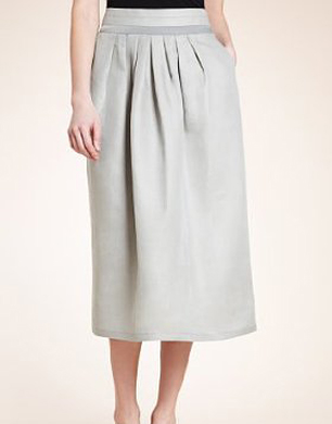 Autograph Linen Blend Satin Trim Midi Skirt