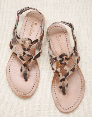 Tan Leopard Print Twist Sandals