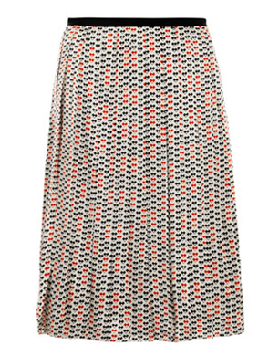 Raoul Silk Print Pleated Skirt