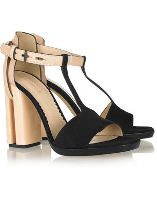Suede, Leather and Acetate Sandals