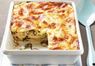 mushroom, chicken and spinach lasagne